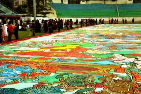 World's Largest Thangka was Displayed in Kathmandu Nepal