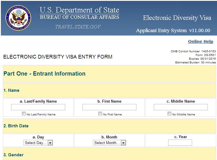 dv lottery visa application form