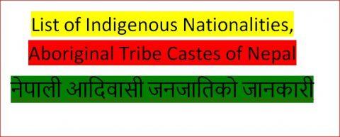 List of Indigenous Nationalities, Aboriginal Tribe Castes of Nepal नेपाली आदिवासी जनजातिको जानकारी