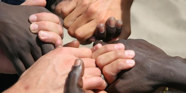 Non racist race peace unity hands