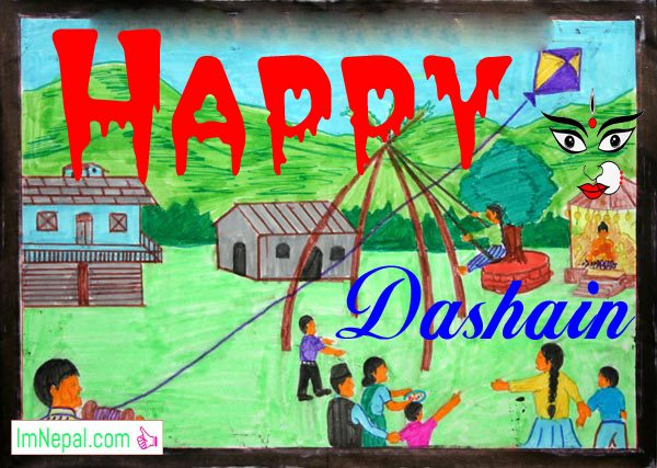 Happy Dashain Vijayadashami Greeting Wishing Quotes Wallpapers Wishes Messages SMS Pictures Photos Durga Navratri Nepal festival cards