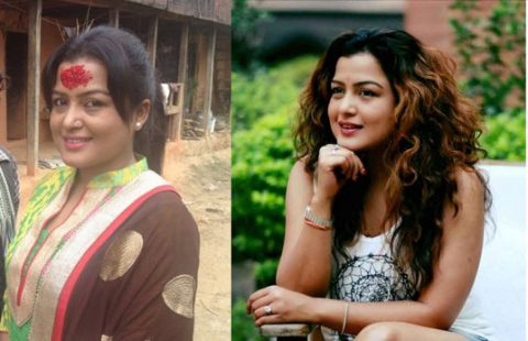 Nepali-actress-rekha-thapa-with and without makeup pic