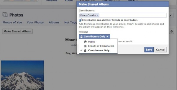 how to create a shared photo album on facebook