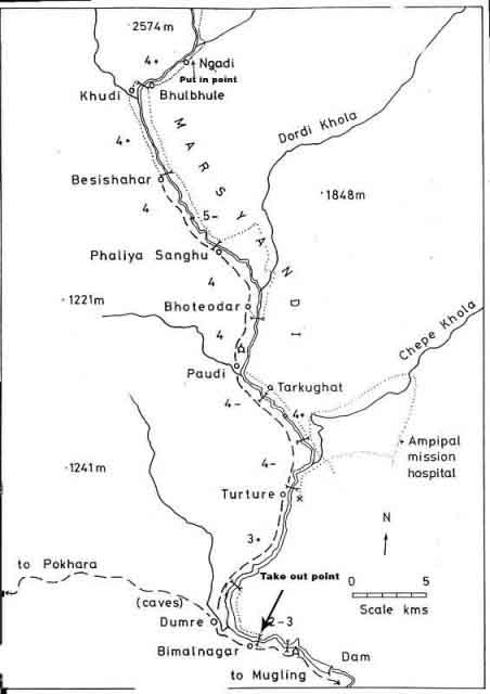 Marshyangdi river rafting map Nepal