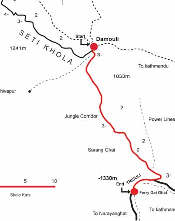 seti khola river rafting map