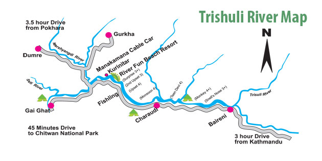 trishuli river rafting map Nepal
